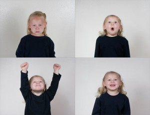 After winning or losing a contest, children looked at four pictures and picked which one represented how they feel. The model for the four photos in the experiment is the daughter of Darren Garcia, the lead study author. (Darren Garcia/BYU)