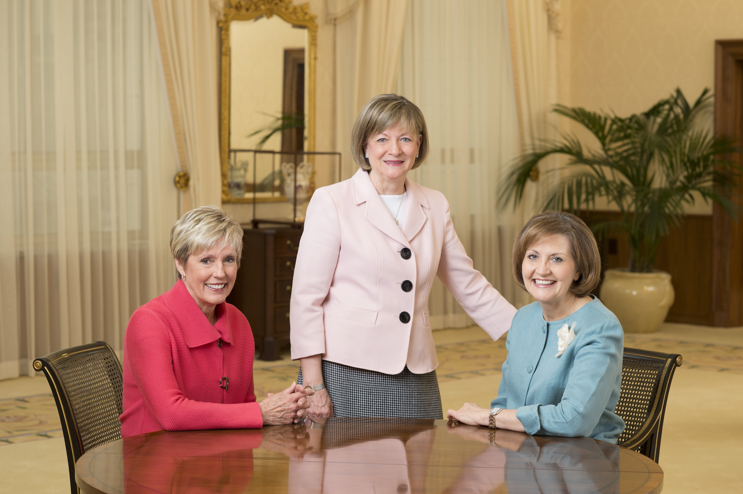 Presidents of the auxiliary organizations of The Church of Jesus Christ of Latter-day Saints are (left to right) Sister Rosemary M. Wixom, Primary general president; Sister Bonnie L. Oscarson, Young Women general president; and Sister Linda K. Burton, Relief Society general president. (Mormon Newsroom)