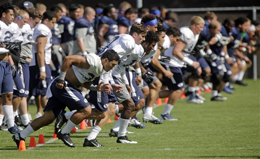 BYU players works out during an NCAA football practice, Wednesday, Aug. 12, 2015, in Provo, Utah. BYU running back Jamaal Williams withdrew from the school last week due to personal reasons. The offense must now adjust without their most talented running back. (AP Photo/Rick Bowmer)