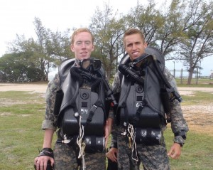 Cadets Matt Priester (left) and Pierce Bennett (right) wear the closed-circuit breathing apparatus they used for stealth missions. (Photo courtesy of Pierce Bennett)