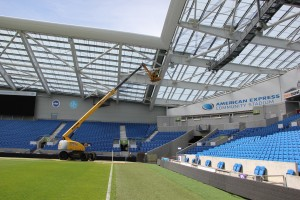 Ruckus Wireless installing Wi-Fi in the American Express stadium in the United Kingdom. Wi-Fi in stadiums is a growing trend. (Ruckus Wireless)