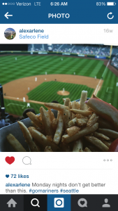 Alexa Barnes posted a photo of her favorite garlic fires while at the Safeco Field. Wi-Fi for fans is a growing trend in stadiums. (Alexa Barnes)