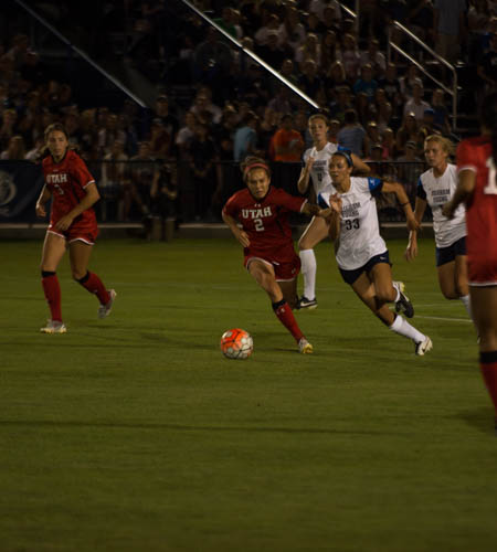 BYU forward Ashley Hatch pressures a University of Utah player on Sept. 4. In the 1-0 loss against Stanford on Sept. 7, Hatch had BYU's only shot on goal of the night. (Natalie Blothwell)