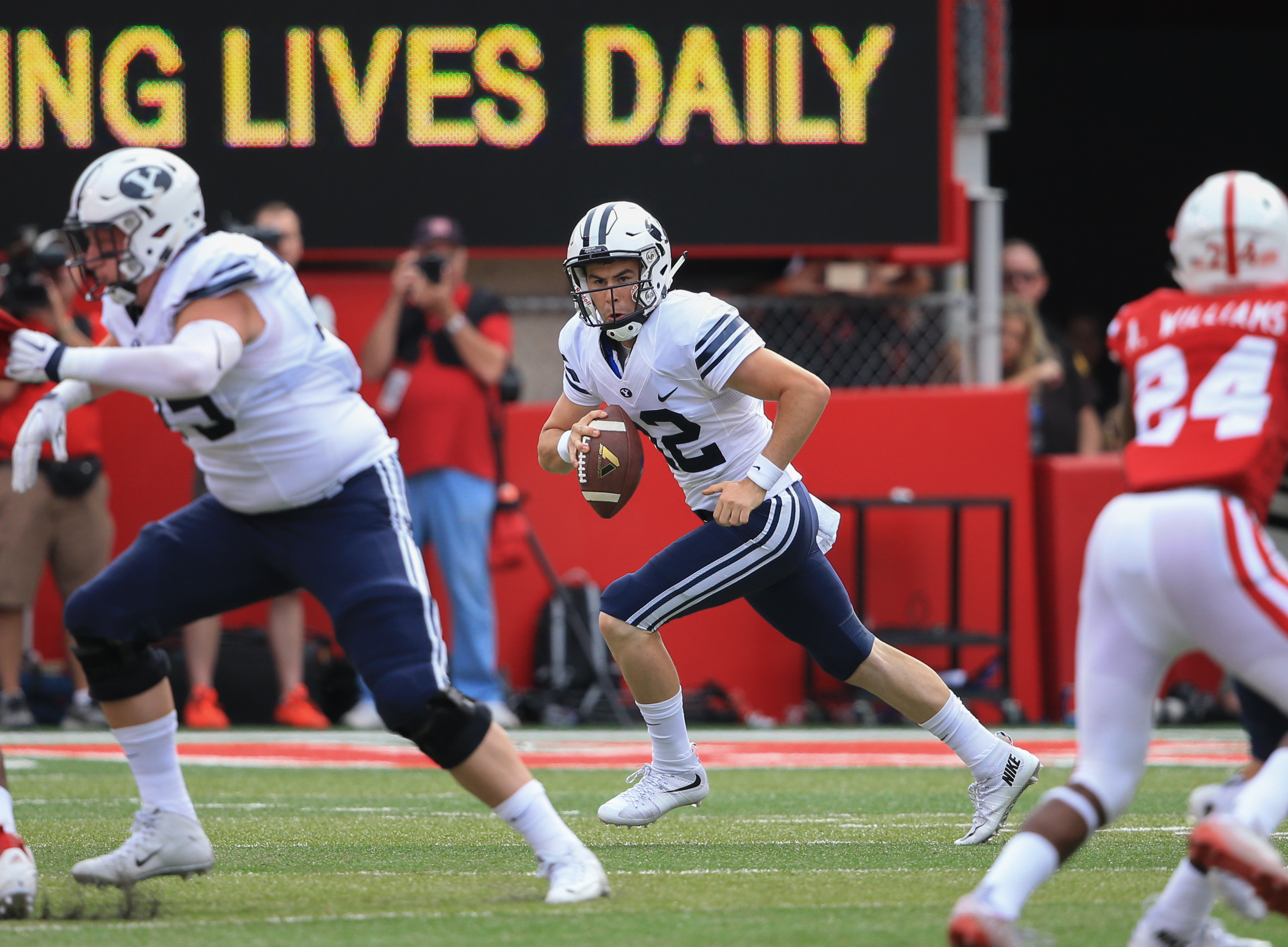 Tanner Mangum runs with the ball during the first half of the Nebraska game on Sept. 5. The Big Ten Conference made a policy change that may result in BYU playing more Power Five teams. (AP Photo/Nati Harnik)