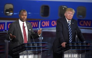 In this Sept. 16, 2015 file photo, Republican presidential candidates, businessman Donald Trump, right, and Ben Carson appear during the CNN Republican presidential debate at the Ronald Reagan Presidential Library and Museum in Simi Valley, Calif. CNBC and the Republican presidential candidates agreed Friday, Oct. 16, on the format for the third debate, a day after Donald Trump and Ben Carson threatened to boycott unless they got their way. The Oct. 28 debate will be two hours long and include closing statements from the participating candidates, said Brian Steel, CNBC spokesman. (AP Photo/Mark J. Terrill, File)