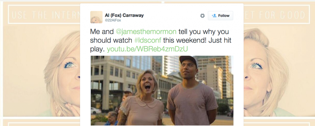 A tweet from Al Fox Carraway. Carraway gives her thoughts on general conference in a new YouTube video. (Twitter)