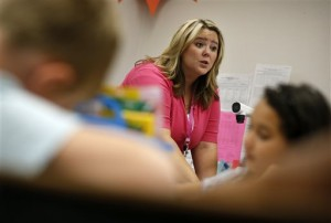 Martin is a long-term substitute teacher who is taking an alternative route to licensure program to get a regular teaching license. (Associated Press)