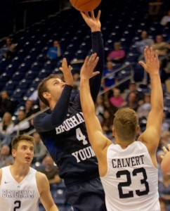 Nick Emery goes over Cory Calvert during Cougar Tipoff. Emery's explosive offense will be key for the Cougars this year. (Natalie Bothwell)