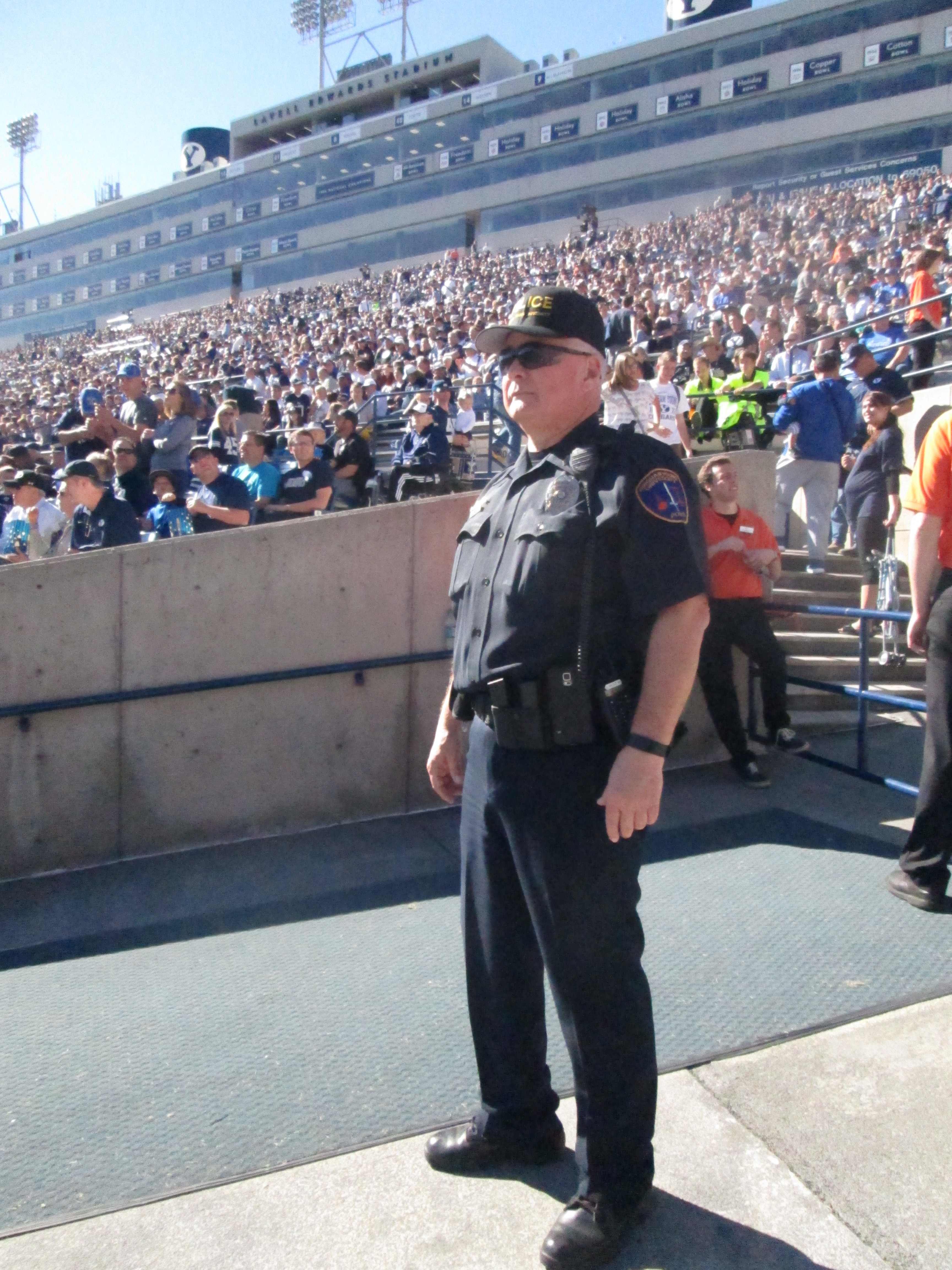 Sargent Pierce watchs for anything abnormal among the fans in the North Stadium. (Photo By: Stacie Faulk)