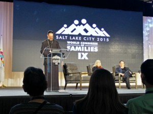 Father Josiah Trenham addresses an audience during a plenary panel on the decline of faith Thursday morning at the World Congress of Families in Salt Lake City. (Steven Potter