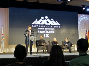 Mark Tooley, president of the Institute of Religion and Democracy addressed an audience at the World Congress of Families Thursday morning in Salt Lake City. (Steven Potter)
