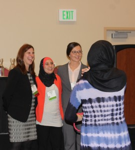 (Left to right) Rita George-Tvrtković, Rana Lahham and  Aneta Krzycka from Benedictine University presented on interfaith dialogue. (Kjersten Johnson)