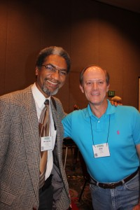 Jean-Luc and Simpson reunite after 14 years. They attended the Compassion Games lecture, which advocates for social change through compassionate acts of service. (Kjersten Johnson)