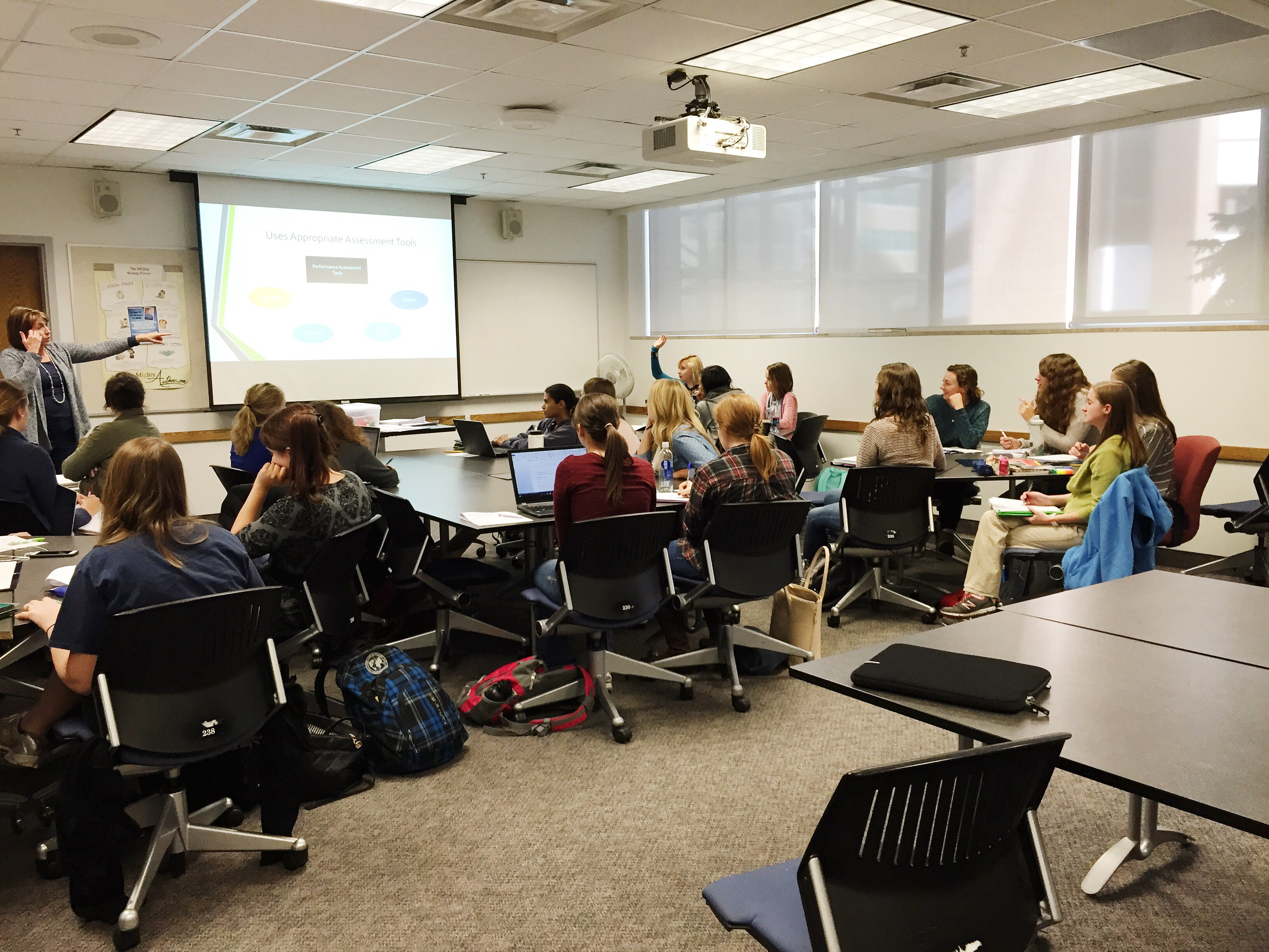 An elementary education class at BYU. Note there are no males present in the class. (Morgan Allred)