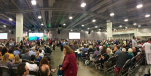 Women and men from all over the world gather for the Faith in Women plenary on Friday morning at the Salt Palace Convention Center. The plenary encouraged and empowered women of all faiths. (Kjersten Johnson)