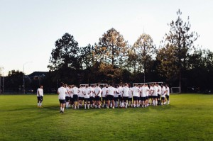 Potential players for the BYU men's soccer team huddle up at tryouts. BYU men's soccer team held tryouts October 12-16. (Michelle Wood)
