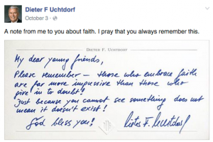 A Facebook post on President Dieter F. Uchtdorf's page. (Facebook)