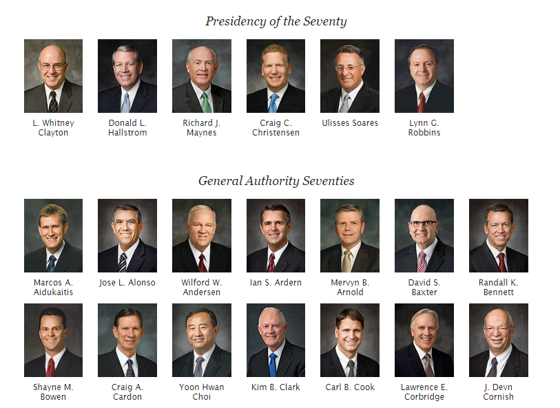 Screenshot from LDS.org showing the change in how members of either Quorum of the Seventy are to be known as.