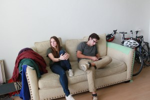 A married BYU couple poses as if in an ambivalent state. (Morgan Allred)