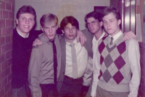 Greg Porter (far right) and David Tenny (second to left) posing at Deseret Tower in 1984. (Kaele Porter)