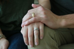 BYU couple Thomas and Katie Barton display their wedding rings as a sign of commitment to each other. (Morgan Allred)