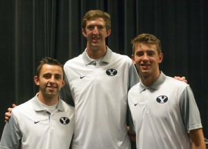 BYU head coach Dave Rose announced that freshman center Alan Hamson (pictured center) will redshirt the 2015-2016 season. Hamson played just two minutes for the Cougars this season. (Natalie Bothwell)