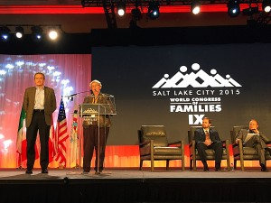 Speaker C. Gwen Landolt addressing the audience about the degeneration family values. (Austin Tenny)