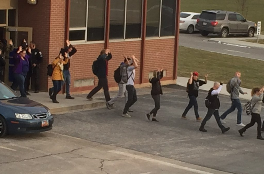 Students leave the school during the lockdown. A threat of weapons initiated the lockdown at Pleasant Grove High school. (KSL's Twitter account)