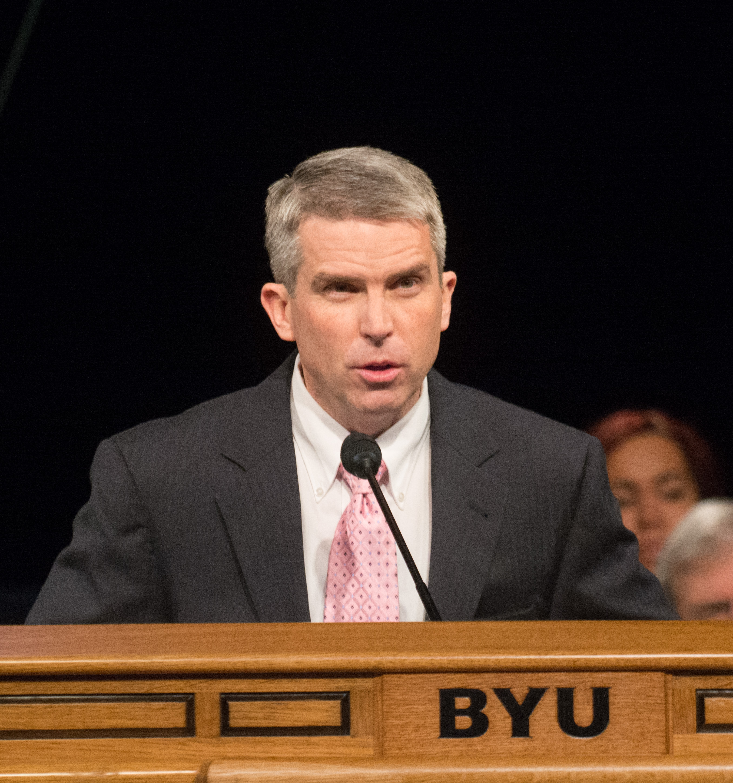 Professor Scott C. Esplin addresses gives is devotional address on overcoming fears at the BYU Marriott Center.