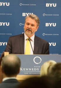 Ambassador to the U.S., Josip Joško Paro addresses BYU students at the David M. Kennedy Center about the Refugee Crisis in Europe (Maddi Driggs)