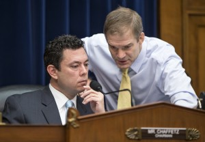 House Oversight and Government Reform Committee Chairman Rep. Jason Chaffetz, R-Utah, left, confers with committee member Rep. Jim Jordan, R-Ohio, on Capitol Hill in Washington, Thursday, Dec. 17, 2015.(AP Photo/J. Scott Applewhite)
