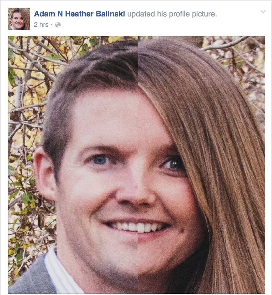 Adam and Heather Balinski not only combined their Facebook, but also created a unique profile picture, which portrayed them as one person. After two days the Balinski's changed their photo back to a picture of their family. (Adam Balinski)