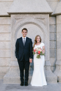 Evan and Sarah Fiala took formal shots outside the Salt Lake temple days before their wedding. Formal shots are a recent trend in wedding photography, made popular partly through social media.