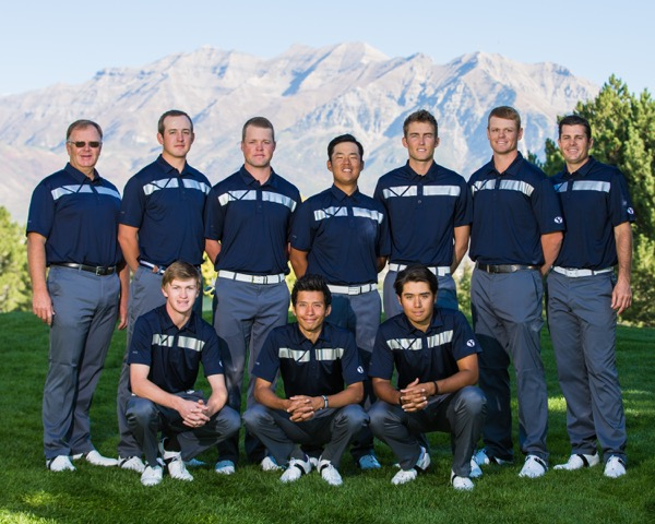 The BYU men's golf team poses for a picture in front of Mt. Timpanogos. The Cougars finished in sixth place as a team in the Arizona Intercollegiate this weekend. (Mark Philbrick)