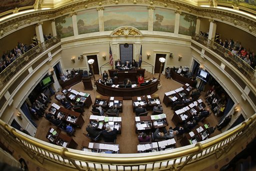 The Senate chambers are shown in session at the Utah state Capitol in 2015. (AP Photo/Rick Bowmer)