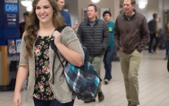 BYU Student Nicole Guillott keeps her backpack on her at all times while walking to class.