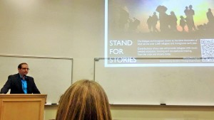 Iraq refugee Salman Yakub speaks to students at the Joseph F. Smith Building to share his personal journey adapting to U.S. life (Jessica Banuelos)
