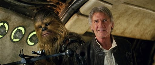 """This photo provided by Lucasfilm shows Peter Mayhew as Chewbacca and Harrison Ford as Han Solo in """"Star Wars: The Force Awakens."""" (Film Frame/Lucasfilm via AP)"""