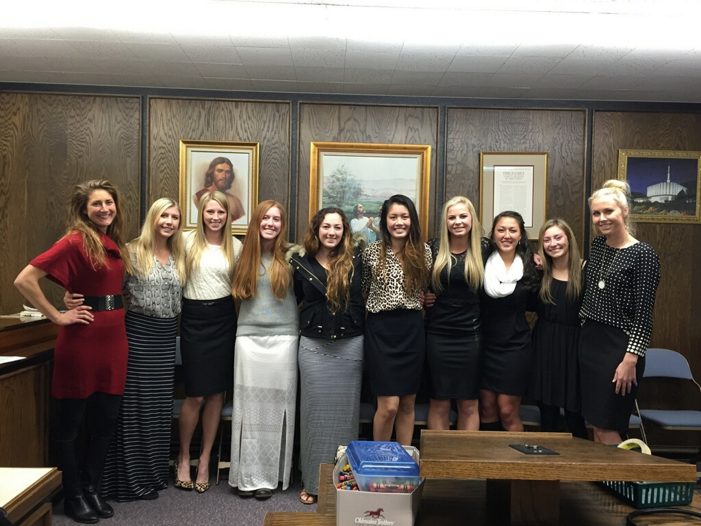 The BYU women's tennis tem comes out to support Nic at her baptism. (Photo courtesy of Nicolette Poulsen)
