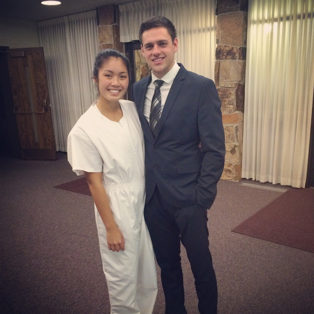Nicolette and her husband Danny Poulsen at her baptism. (Photo courtesy of Nicolette Poulsen)