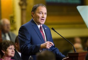 Utah Governor Gary R. Herbert, delivers his State of the State address from the House of Representatives at the State Capitol in Salt Lake City Wednesday, Jan. 27, 2016. (Scott G Winterton/Deseret News via AP, Pool)