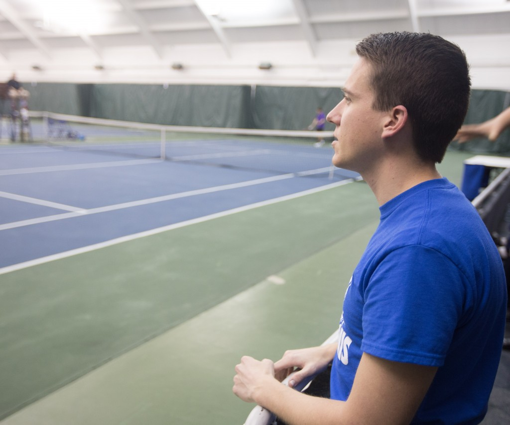 Even though Tony Mickelsen is no longer collecting stats, ,he never misses a BYU men's tennis match. (Natalie Bothwell)