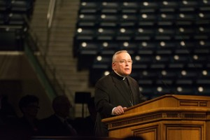 Archbishop Charles Chaput of Philadelphia spoke at the Marriot Center about keeping a great patriotism towards God.