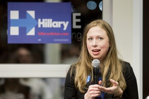 In this Feb. 29, 2016, Chelsea Clinton, daughter of democratic presidential candidate Hilary Clinton, campaigns for her mother at Fuse Coworking in the Haymarket in Lincoln, Neb. (Kristin Streff/The Journal-Star via AP) LOCAL TELEVISION OUT; KOLN-TV OUT; KGIN-TV OUT; KLKN-TV OUT; MANDATORY CREDIT