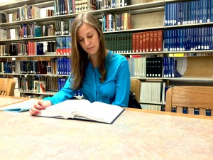 BYU law student Joni McDougal studies at the Law Library. The BYU Law School is ranked number 38 in the nation according to the 2016 U.S. News Grad School Rankings. (Maddi Driggs)
