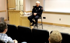 Lt. Arnold Lemmon speaking to students about active shooters (Brynn Dew).