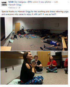 Hannah Grigg hosts a stress relieving yoga class. NAMI hosts on campus activities to provide support and education. (Screenshot)