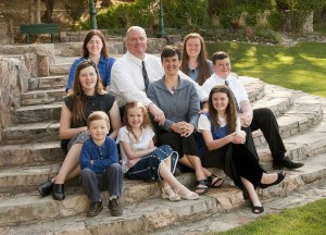Eli Herring with his wife, Jennifer, and their seven children. Herring decided not to play professional football to honor the Sabbath. (Eli Herring)