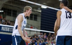 Junior Jake Langlois celebrates after a Cougar point against USC. BYU is 23-3 on the season. (Ari Davis)