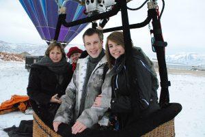 Theo and Rebekah Harris prepare for their hot air balloon flight.